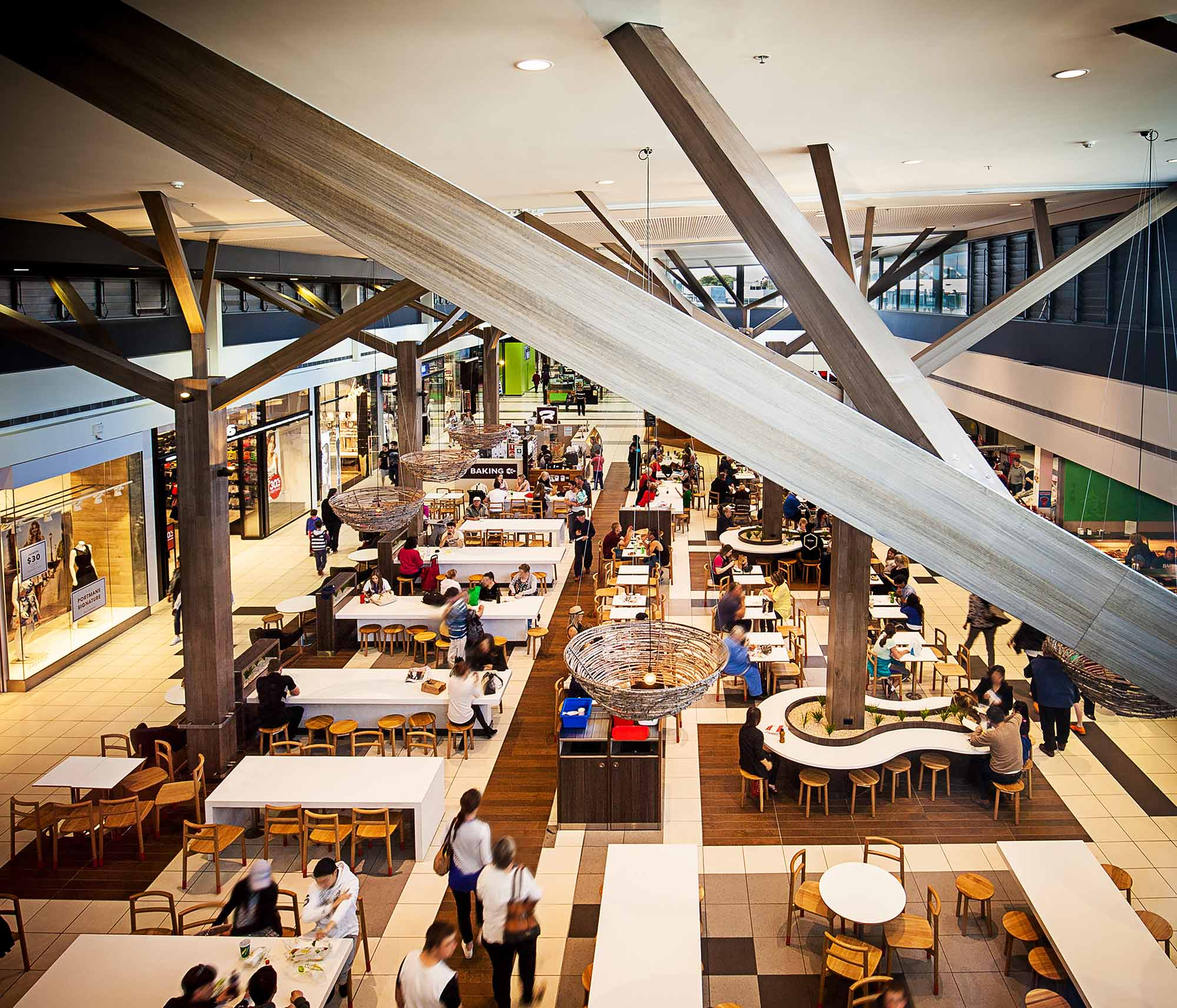 A shopping mall food court
